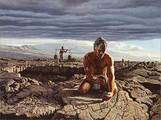 Petroglyph Maker, painting by Herb Kawainui Kāne.