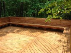 Deck with built-in seating.