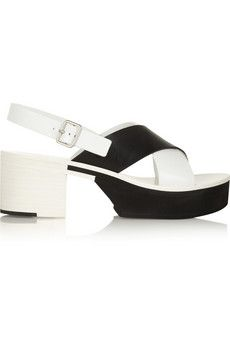 Jil Sander Two-tone leather sandals | NET-A-PORTER