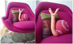 snail and Knoll! Bloesem blog. (Platner 50's chair, pillows by Donna Wilson and Margo Selby)