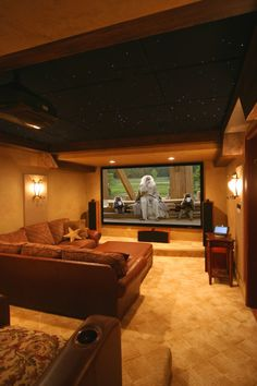 home theater. Couch 'pit' along w raised seating.