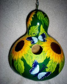 Sunflowers, & Blue Butterflies on Green Painted Gourd birdhouse Garden Yard/Art