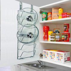 Pan Lids Rack Holder Over Door Cupboard Saucepans Kitchen Door Storage Holds Six