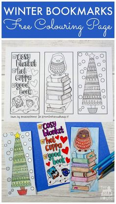 Winter Colouring Bookmarks - Free winter colouring bookmarks printable. These Beautiful seasonal bookmarks are perfect for adults and teens to colour.