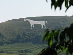 Westbury White Horse or Bratton White Horse, Salisbury Plain, England - located just below an Iron Age hill fort, it is the oldest of several white horses carved in Wiltshire. It was restored in 1778, an action which may have obliterated a previous horse occupying the same slope thought to commemorate King Alfred's victory over the Vikings.
