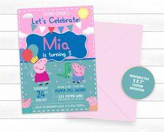 Peppa Pig Birthday Party Invitation ~ 315 Pitch your birthday 4th Birthday Parties, 1st Birthdays, It's Your Birthday, Jessica Jones, Peppa Pig Party Supplies, Peppa Pig Birthday Invitations, Toy Story Birthday, Pigs, Etsy