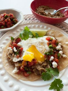 If you miss refried beans, try making them with canned lentils! Huevos Rancheros and Low-FODMAP Refried Beans are an amazing way to eat Mexican food for breakfast and gluten free too! Click through for the recipes.