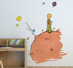Sticker enfant dessin le Petit Prince couleur Mural Wall Art, Mural Painting, Wall Stickers, Wall Decals, Sun Projects, Simple Wall Art, Couple Wallpaper, Children's Picture Books, The Little Prince