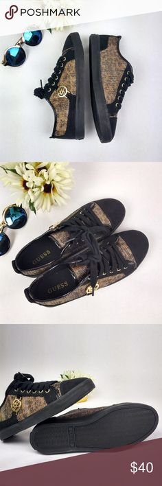 {Guess} NWOT Suede Leather Cheetah Print Sneakers Guess NWOT Low Top Suede Leather Cheetah Print Sneakers. Size 7. Sneakers feature suede and patent leather piping and a cheetah print under gold sparkle fabric.     Smoke free and pet free home. Accepting offers and bundles. Guess Shoes Sneakers