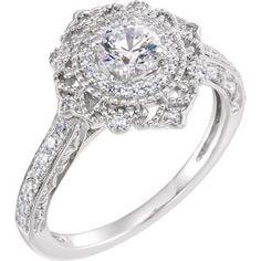 653074 / Engagement Ring / Semi-set / 14K White / Polished / 1/3 CTW Diamond Semi-mount Engagement Ring