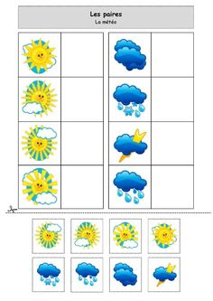 nounoulolo88.centerblog,net: Les paires : la météo Art Activities For Toddlers, Card Games For Kids, Preschool Learning Activities, Infant Activities, Preschool Crafts, Preschool Education, Speech Therapy Games, Sequencing Cards, Learning English For Kids