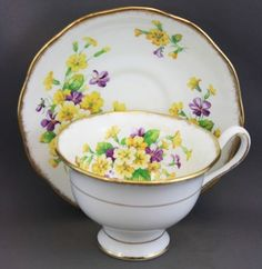 Royal Albert Yellow Purple Violets Teacup and Saucer Tea Cup Saucer, Tea Cups, Vintage Tea, Vintage China, China Tea Sets, Royal Albert, China Dinnerware, Afternoon Tea, Tea Time