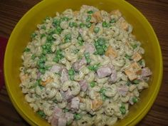 Pasta Salad - Peas, Ham and Cheese. Added chopped celery and sweet pickle relish. No garlic salt.