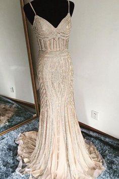 Luxurious Trumpet Spaghetti Sleeveless Long Beading Prom Dress OKA23