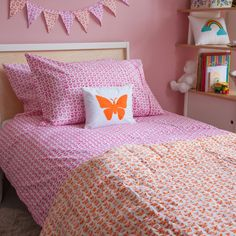 Pink Butterfly Pillowcase | Castles for Rascals - Imaginative interiors for little ones