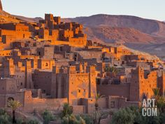 Sunrise over Ait Benhaddou, Atlas Mountains, Morocco Photographic Print by Doug Pearson at Art.com