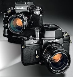 Minolta XM (XK in America). Electromechanical hybrid Minolta, with vertically traveling Copal steel shutter. True works of art. The less expensive XE-7 and XE-5, (with non-removeable pentaprisms) also used this technology.