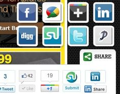 Add twitter, google +1, google buzz, facebook like, linkedin, stumbleupon, digg & pin it social media share buttons in a slick floating or slide out tab