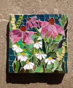 Wild Flowers: Stained Glass Mosaic Wall Art door MaitriMosaics