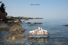 Greek island floating cake