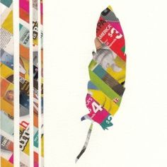 Make cute and easy art using brightly colored junk mail.  Junk Mail Art | Looksi Square
