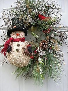 Christmas, Winter, Primitive Snowman Floral door Wreath Arrangement