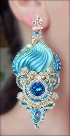 """Royal"" Earrings - Designed by Serena Di Mercione - Beadembroidery and Soutache - Shibori silk, Swarovski, pearls. Ribbon Jewelry, Soutache Jewelry, Beaded Jewelry, Handmade Jewelry, Shibori, Crystal Earrings, Crystal Jewelry, Jewelry For Her, Jewelry Making"