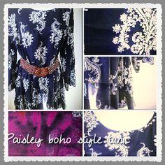 Deep Navy Tunic Navy Tunic, Resort Wear, Boho Outfits, Paisley, Kimono Top, Tapestry, Beach, How To Wear, Deep