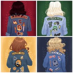 Gracie Gryffindor, Stacy Slytherin, Hannah Hufflepuff, and Rosie Ravenclaw