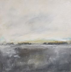 Abstract Landscape Original Painting on Canvas- Grey Bronze Landscape