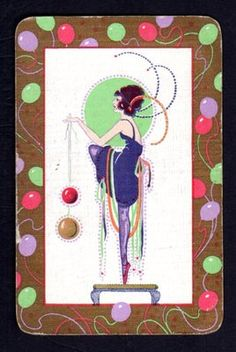 Vintage Swap Playing Card Art Deco Lady Gold Highlights Linen | eBay