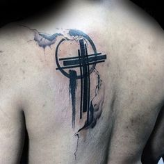 awesome Watercolor tattoo - Simple Christian Watercolor Mens Back Cross Tattoo Ideas. Back Cross Tattoos, Girl Back Tattoos, Cross Tattoo For Men, Cross Tattoo Designs, Tattoo Designs For Women, Leg Tattoos, Body Art Tattoos, Tattoos For Guys, Sleeve Tattoos