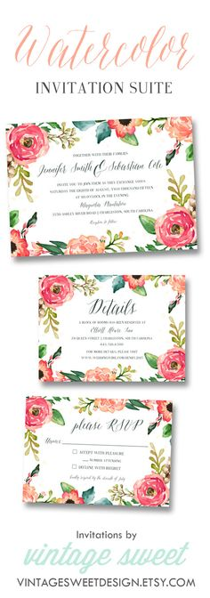Watercolor Wedding Invitation $12.00 by Vintage Sweet Designs on Etsy  https://www.etsy.com/listing/205341251/ vintagesweetdesign.etsy.com peach | blush | invitation | floral | vintage | beach wedding | spring wedding | arrow | diy | printable | reception | heart | fall wedding | watercolor | painted