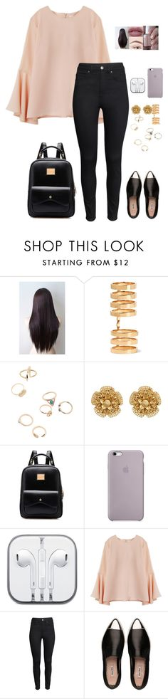 """UNI 5"" by beautyshit ❤ liked on Polyvore featuring Essie, Repossi, Miriam Haskell, H&M and Miu Miu"