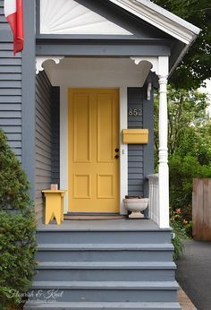 207 best delightful small porch ideas images in 2019 - Gray house yellow door ...