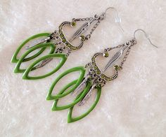Peridot Chandelier Earrings: silver feathers, Swarovski crystals & green enamel dangles. Pantone 2017 color of the year. Free Shipping USA by ArizonaBeadWorks on Etsy