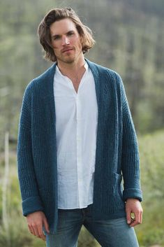 Use brioche stitch and garter-stitch squares to create this geometric knitted cardigan pattern. The interesting vertical and horizontal lines make it perfect for anyone. Mens Knitted Cardigan, Knit Cardigan Pattern, Sweater Knitting Patterns, Men Sweater, Man Cardigan, Knitting Sweaters, Sock Knitting, Vintage Knitting, Free Knitting