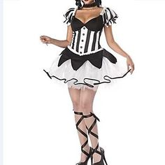 Gothic Clown Black and White Dress Women's Carnival Costume – USD $ 23.99