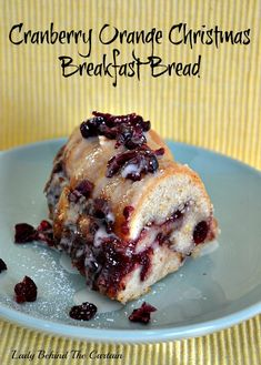 Cranberry Orange Christmas Breakfast Bread 2 c all-purpose flour 1-1/4 t cinnamon 1 t baking powder 3/4 t salt 1/2 t nutmeg 1/2 c butter, softened 1 c sugar 2 eggs 2 T finely shredded orange peel, divided 1 c sour cream 1 c canned whole cranberry sauce, stirred For the Glaze: 3/4 c confectioners' sugar 1 to 2 T orange juice 1/4 c chopped sweetened dried cranberries