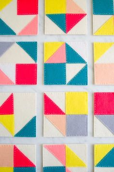 Molly's Sketchbook: Modular FeltCoasters - The Purl Bee - Knitting Crochet Sewing Embroidery Crafts Patterns and Ideas!