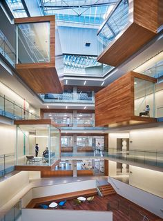 labs, offices, and open work spaces are organized as a series of 'petals' grouped around a light-filled atrium.