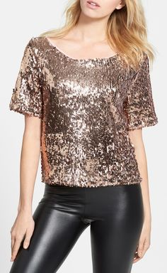 Adding this metallic short sleeve sequin top to the wardrobe.