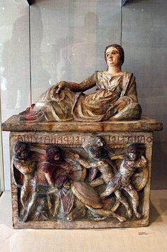 Etruscan funerary urn. Metropolitan Museum of Art.