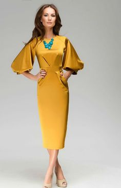Chic Mustard Formal Maxi Dress ,Evening Cocktail Elegant 3/4 Sleeve Gown.