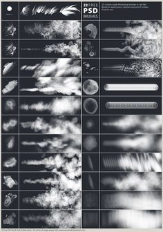 21 Great Free Photoshop Brush Sets This is a collection of great free Photoshop brush sets you can use in your digital work. These Photoshop brush sets add dimension & texture to your work. Photoshop Design, Photoshop Tutorial, Funcionalidades Do Photoshop, Texture Photoshop, Effects Photoshop, Photoshop For Photographers, Photoshop Illustrator, Photoshop Brushes, Photoshop Photography