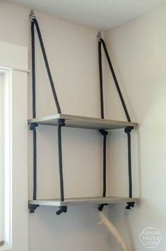 Hanging Shelves (and Farewell Office DIY Hanging Rope Shelving- such a fun alternative to a bookshelf!DIY Hanging Rope Shelving- such a fun alternative to a bookshelf!