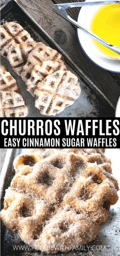 Crispy edged, cinnamon-sugar dusted Churros Waffles are 100% irresistible and ridiculously easy to make, taking advantage of frozen dough for the crispy on the outside, tender on the inside waffles that will please EVERYONE. Bonus: No boiling oil is involved so no grease burns will be had in pursuit of churro happiness!    Serve these hot, warm, or room temperature as is, or perch on top of a bowl of ice cream and drizzle with some spectacular hot fudge sauce. Breakfast Items, Breakfast Dishes, Breakfast Recipes, Kids Cooking Recipes, Camping Recipes, Churros, Fudge Sauce, Baked Donuts, Backpacking Meals