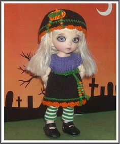 Halloween Dress, Hat and Leggings for Lati Yellow, Fairyland PukiFee and Luts Tiny Delf Dolls by JCsTinyTreasures, $28.00