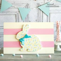 Easter Bunny Wood Slat Sign
