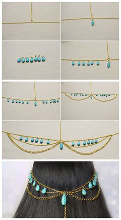 Emerald Necklace / Emerald Necklace Gold / Diamond Bar Necklace with Baguette Emerald in Gold / Natural Emerald Necklace/ May Birthstone - Fine Jewelry Ideas Diy Choker, Beaded Choker Necklace, Diy Necklace, Diy Head Jewellery, Wire Jewelry, Jewelry Crafts, Head Chain Jewelry, Chain Headpiece, Headpiece Jewelry